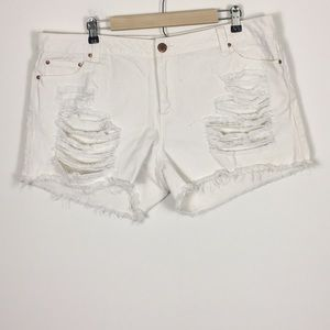 F21 White Distressed Denim Shorts